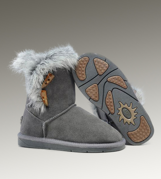 UGG Fox Fur Short 5685 Grey Boots